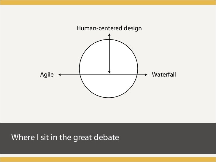 Human-centered design             Agile                             Waterfall     Where I sit in the great debate