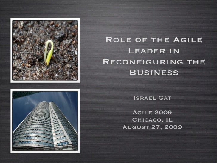 Role of the Agile Leader in Reconfiguring the Business <ul><li>Israel Gat </li></ul><ul><li>Agile 2009 </li></ul><ul><li>C...