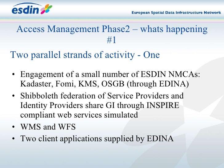 <ul><li>Engagement of a small number of ESDIN NMCAs: Kadaster, Fomi, KMS, OSGB (through EDINA) </li></ul><ul><li>Shibbolet...