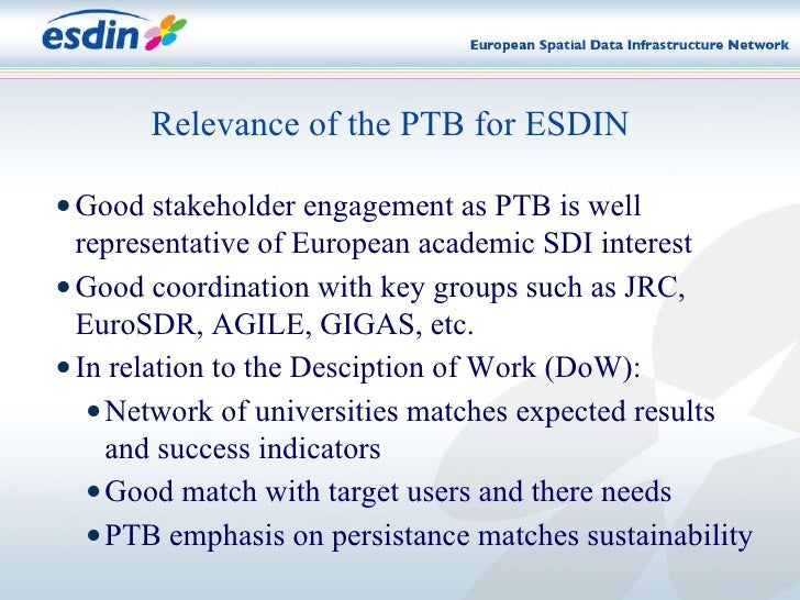 Relevance of the PTB for ESDIN <ul><li>Good stakeholder engagement as PTB is well representative of European academic SDI ...