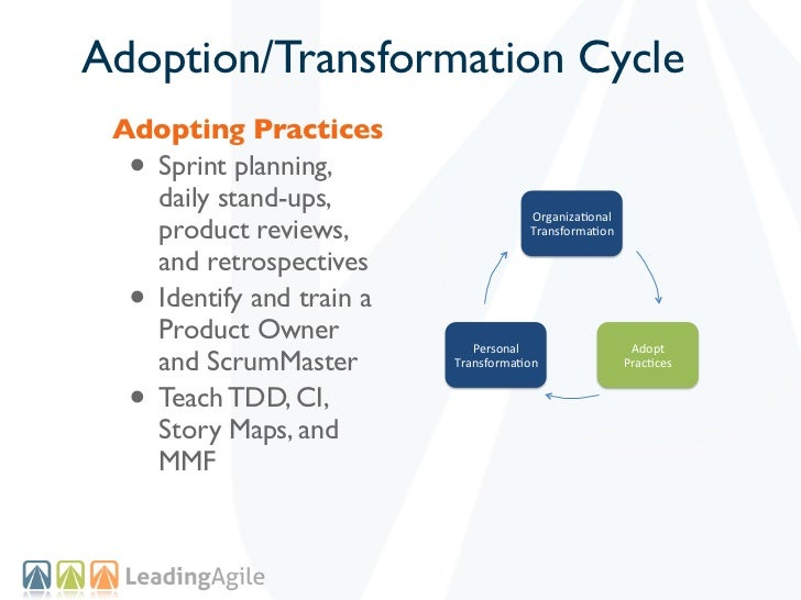 Adoption/Transformation Cycle Adopting Practices  •Sprint planning,   daily stand-ups,                                    ...