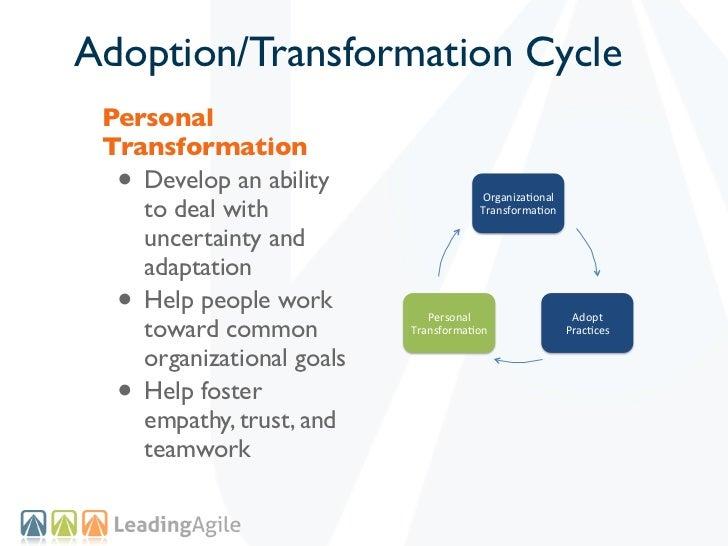 Adoption/Transformation Cycle Personal Transformation  • Develop an ability                                       Organiza...