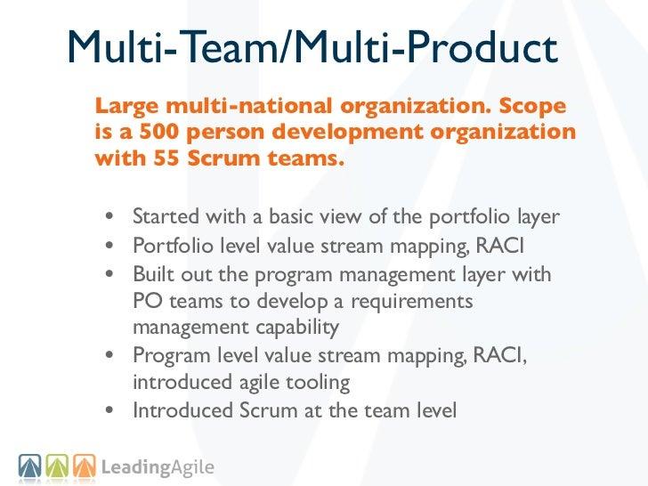 Multi-Team/Multi-Product Large multi-national organization. Scope is a 500 person development organization with 55 Scrum t...