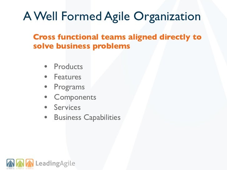 A Well Formed Agile Organization Cross functional teams aligned directly to solve business problems   •   Products   •   F...