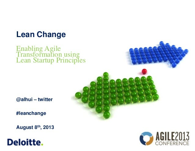 Lean Change @alhui – twitter #leanchange August 8th, 2013 Enabling Agile Transformation using Lean Startup Principles