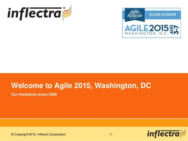 © Copyright 2015, Inflectra Corporation - 1 - Welcome to Agile 2015, Washington, DC Our Hometown since 2006