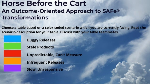 Horse Before the Cart An Outcome-Oriented Approach to SAFe® Transformations Choose a table based on a color-coded scenario...