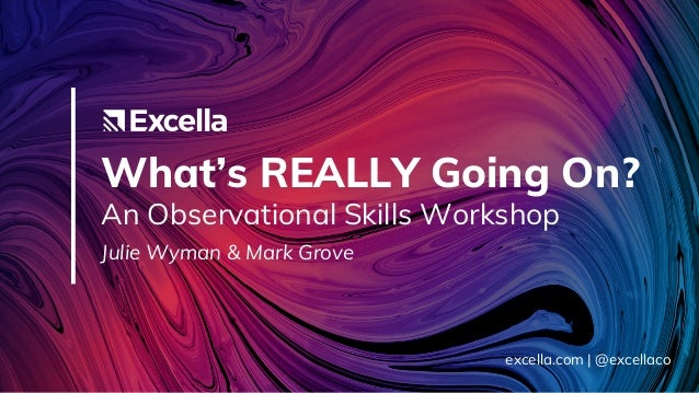 What's REALLY Going On? An Observational Skills Workshop Julie Wyman & Mark Grove excella.com | @excellaco