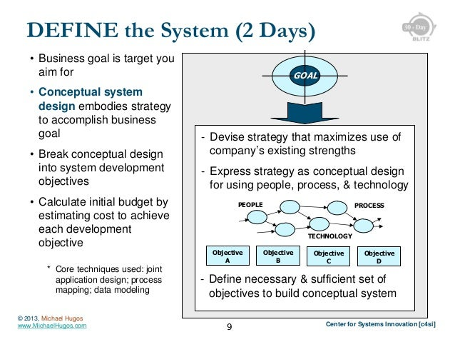 DEFINE the System (2 Days) • Business goal is target you aim for • Conceptual system design embodies strategy to accomplis...