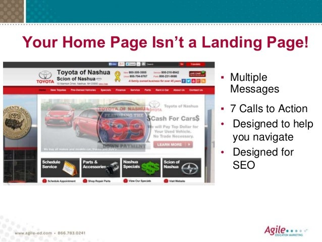 Your Home Page Isn't a Landing Page! ▪ Multiple Messages ▪ 7 Calls to Action • Designed to help you navigate • Designed fo...