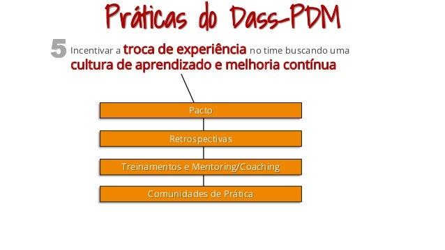 Práticas do Dass-PDM Incentivar a troca de experiência no time buscando uma cultura de aprendizado e melhoria contínua 5 P...
