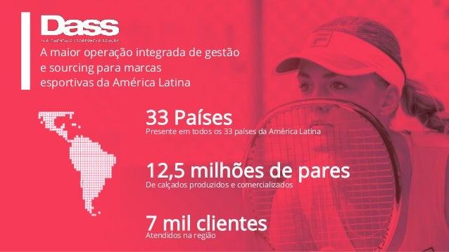 Atendidos na região 33 Países 12,5 milhões de pares Presente em todos os 33 países da América Latina De calçados produzido...