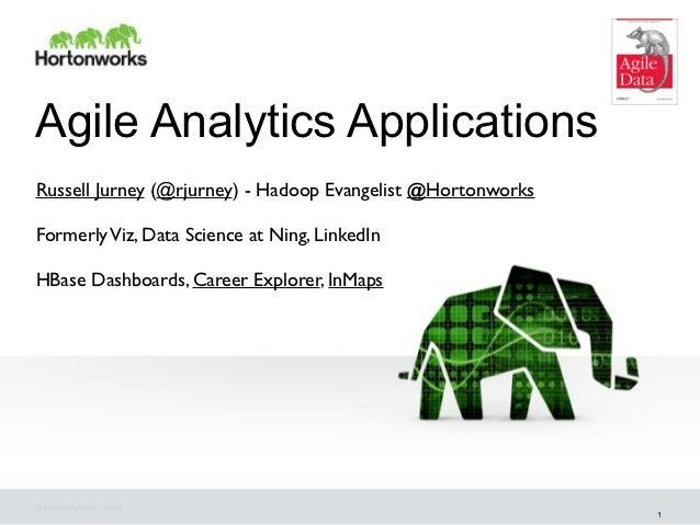 Agile Analytics ApplicationsRussell Jurney (@rjurney) - Hadoop Evangelist @HortonworksFormerly Viz, Data Science at Ning, ...