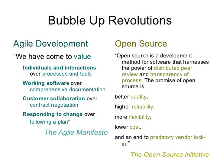"""Bubble Up Revolutions Agile Development """" We have come to  value <ul><ul><li>Individuals and interactions   over  processe..."""