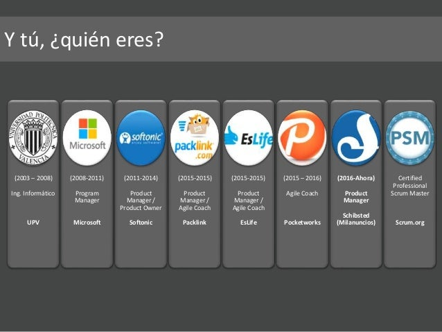 (2003 – 2008) Ing. Informático UPV (2008-2011) Program Manager Microsoft (2011-2014) Product Manager / Product Owner Softo...
