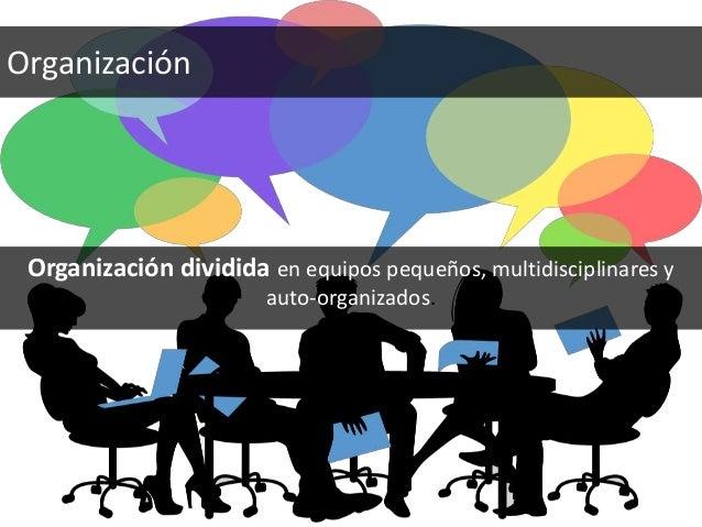 Organización dividida en equipos pequeños, multidisciplinares y auto-organizados. Organización