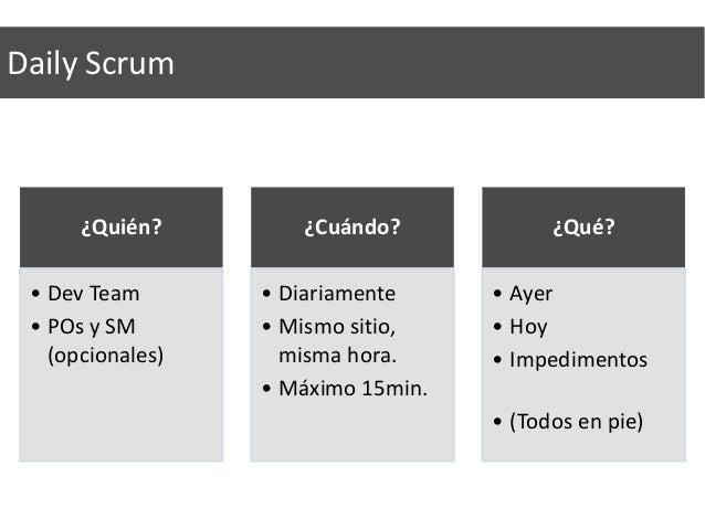 Demo ¿Quién? • PO • SM • Dev Team • Stakeholders ¿Cuándo? • Al final del sprint • 1,5 hora máximo (sprint de 2 sem.) ¿Qué?...