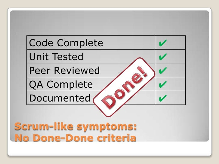 Code Complete         ✔  Unit Tested           ✔  Peer Reviewed         ✔  QA Complete           ✔  Documented            ...