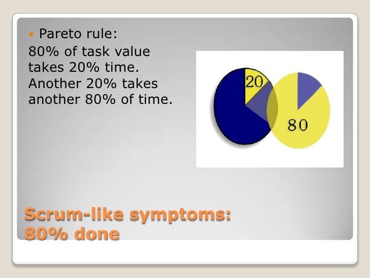  Pareto rule:80% of task valuetakes 20% time.Another 20% takesanother 80% of time.Scrum-like symptoms:80% done