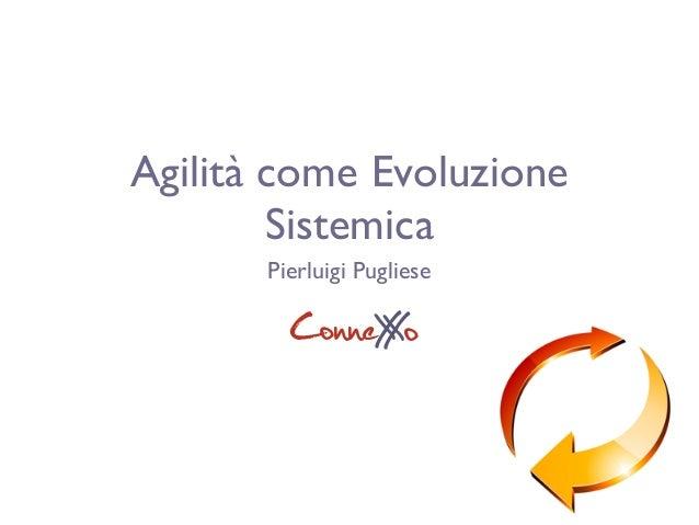 Agilità come Evoluzione Sistemica Pierluigi Pugliese ConneXoX