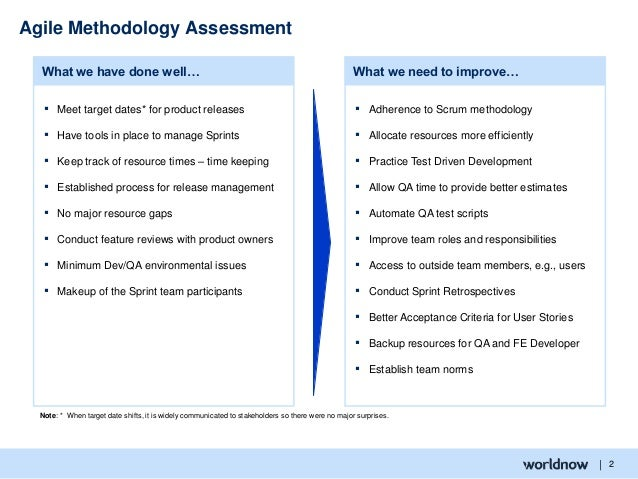 | 2 Agile Methodology Assessment ▪ Adherence to Scrum methodology ▪ Allocate resources more efficiently ▪ Practice Test Dr...