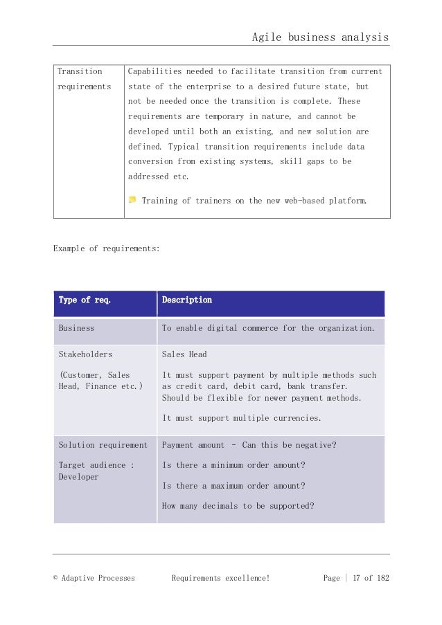 business analysis example
