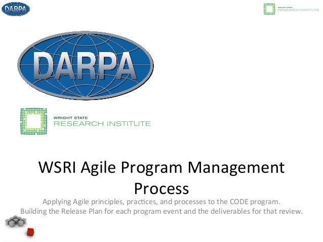 WSRI  Agile  Program  Management   Process   Applying  Agile  principles,  prac8ces,  and  processes ...
