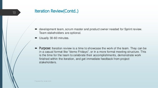 Iteration Review(Contd..)  development team, scrum master and product owner needed for Sprint review. Team stakeholders a...