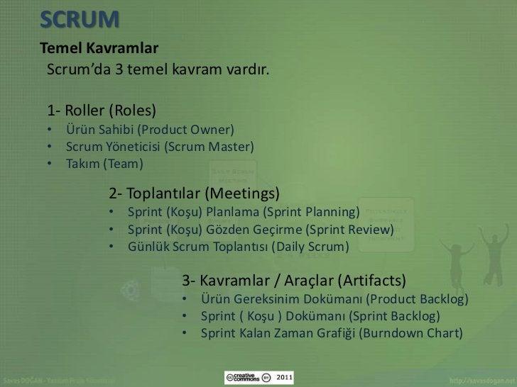 SCRUMTemel Kavramlar Scrum'da 3 temel kavram vardır.1- Roller (Roles)• Ürün Sahibi (Product Owner)• Scrum Yöneticisi (Scru...