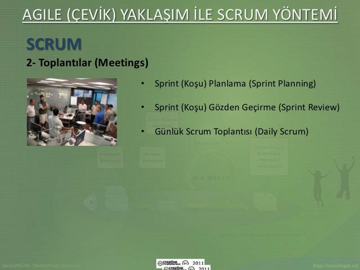 AGILE (ÇEVİK) YAKLAŞIM İLE SCRUM YÖNTEMİSCRUM2- Toplantılar (Meetings)                       • Sprint (Koşu) Planlama (Spr...