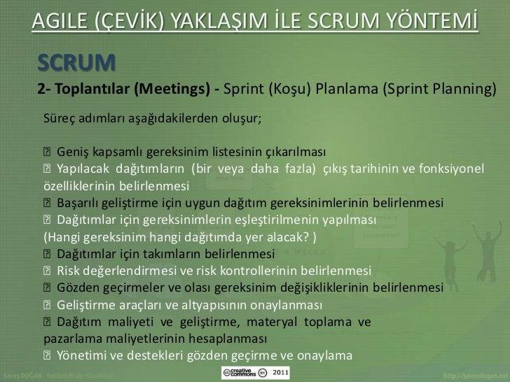 AGILE (ÇEVİK) YAKLAŞIM İLE SCRUM YÖNTEMİSCRUM2- Toplantılar (Meetings) - Sprint (Koşu) Planlama (Sprint Planning) Süreç ad...