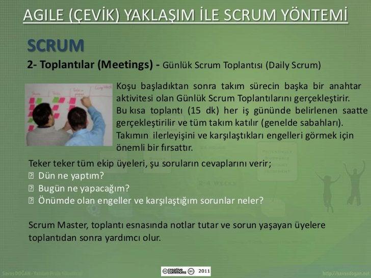 AGILE (ÇEVİK) YAKLAŞIM İLE SCRUM YÖNTEMİSCRUM2- Toplantılar (Meetings) - Günlük Scrum Toplantısı (Daily Scrum)            ...