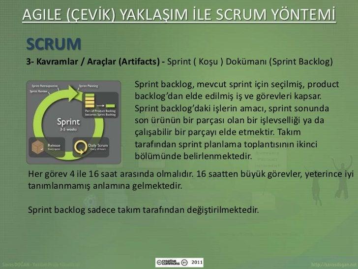 AGILE (ÇEVİK) YAKLAŞIM İLE SCRUM YÖNTEMİSCRUM3- Kavramlar / Araçlar (Artifacts) - Sprint ( Koşu ) Dokümanı (Sprint Backlog...