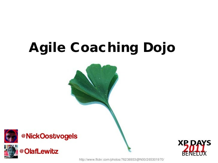Agile Coaching Dojo@NickOostvogels@OlafLewitz                  http://www.flickr.com/photos/76236933@N00/265301970/