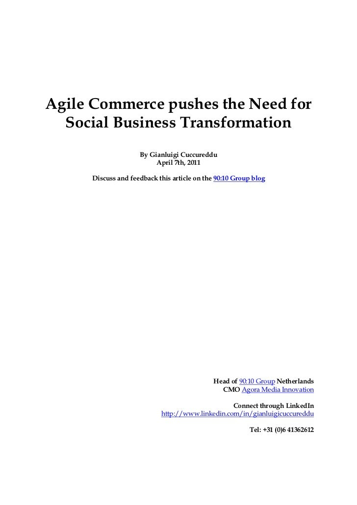 Agile Commerce pushes the Need for  Social Business Transformation                    By Gianluigi Cuccureddu             ...