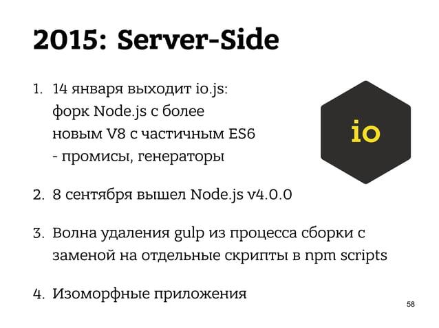 2015: Client-Side 1. Пришёл ES6, 15 февраля - Babel (6to5 + esnext) 2. React Native 3. Взлёт популярности PostCSS 4. webpa...