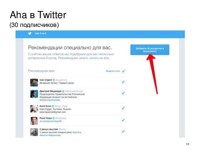 12 Aha в Twitter (30 подписчиков)