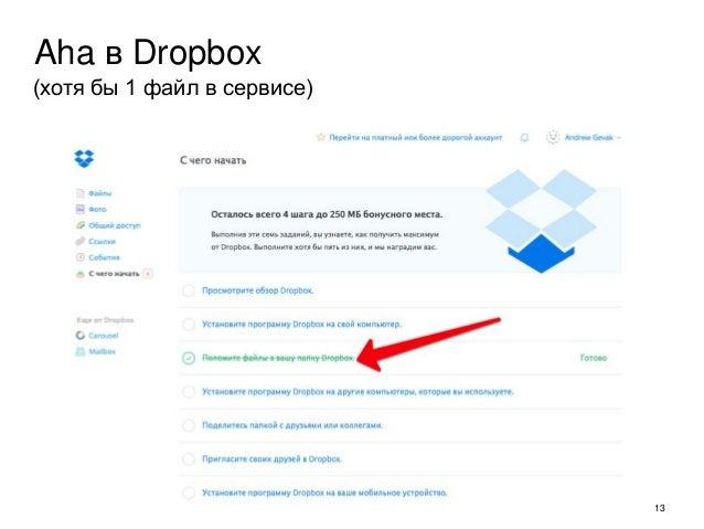 13 Aha в Dropbox (хотя бы 1 файл в сервисе)