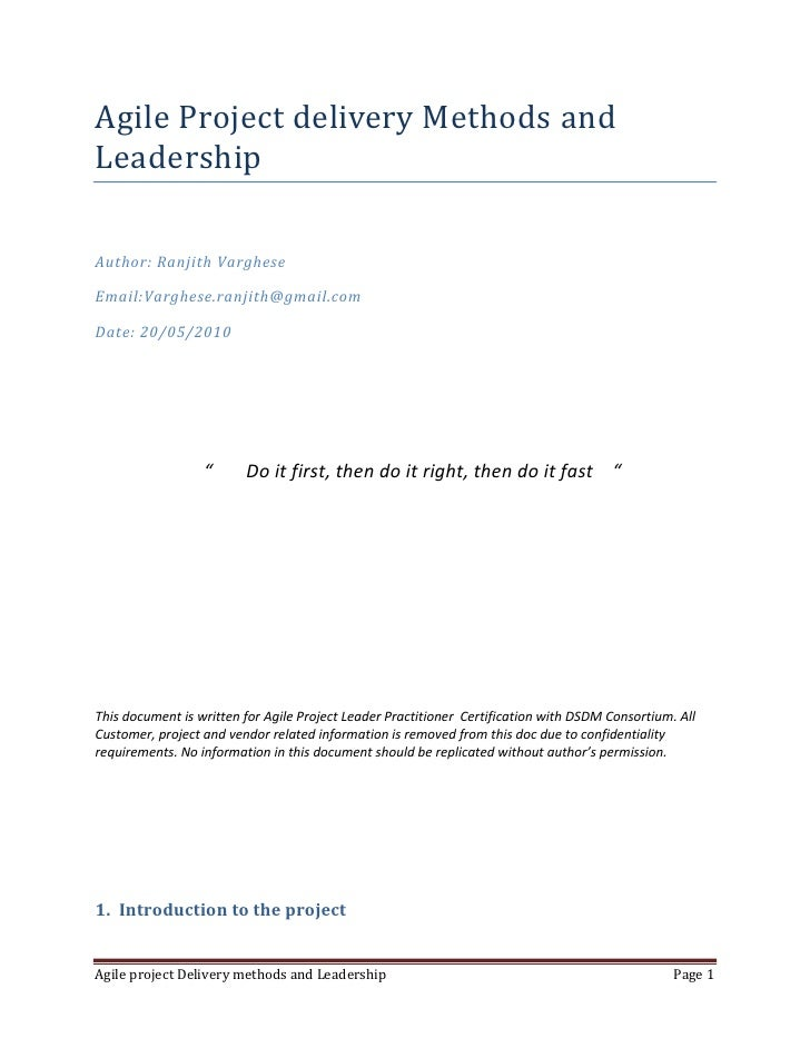 Agile Project delivery Methods and Leadership<br />Author: Ranjith Varghese<br />Email:Varghese.ranjith@gmail.com<br />Dat...