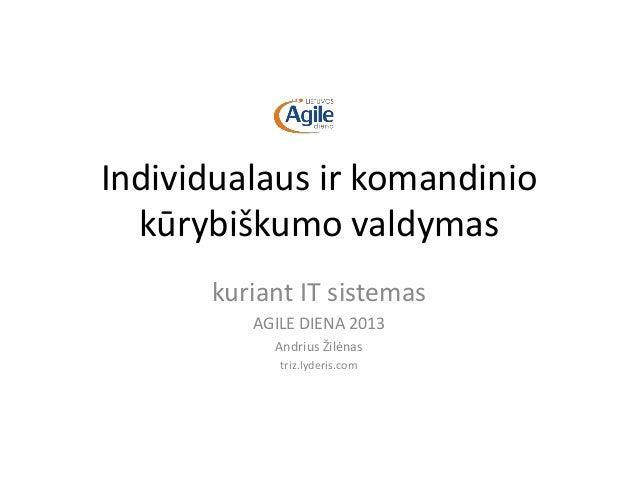 Individualaus ir komandiniokūrybiškumo valdymaskuriant IT sistemasAGILE DIENA 2013Andrius Žilėnastriz.lyderis.com