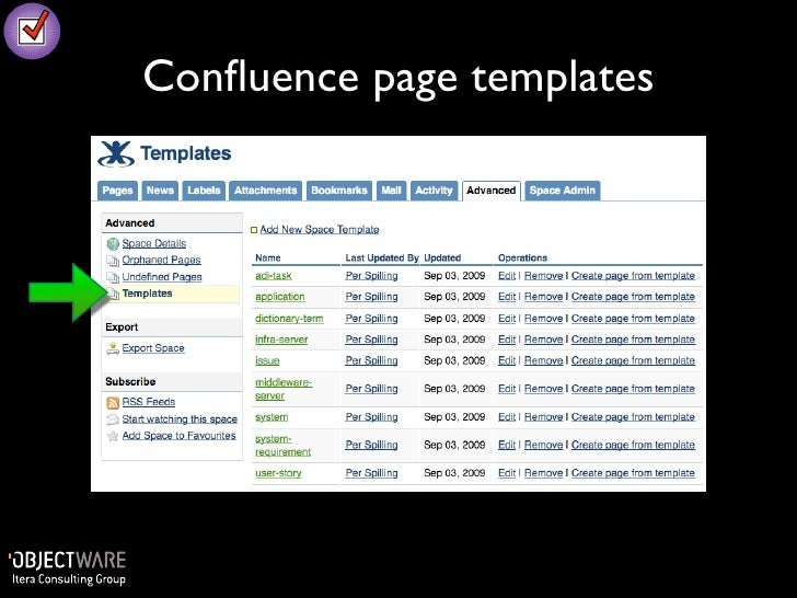 Agile documentation with confluence and sparx enterprise for Confluence create page template