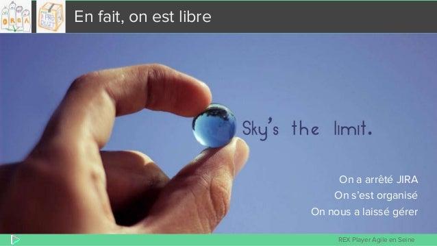 REX Player Agile en Seine En fait, on est libre On a arrêté JIRA On s'est organisé On nous a laissé gérer