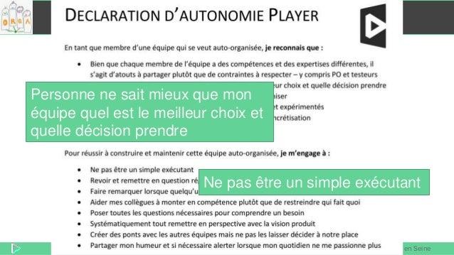 REX Player Agile en Seine Déclaration d'autonomie Player Ne pas être un simple exécutant Personne ne sait mieux que mon éq...