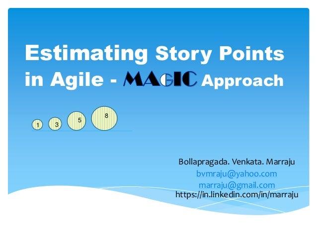 Estimating Story Points in Agile - Approach 1 3 8 5 Bollapragada. Venkata. Marraju bvmraju@yahoo.com marraju@gmail.com htt...