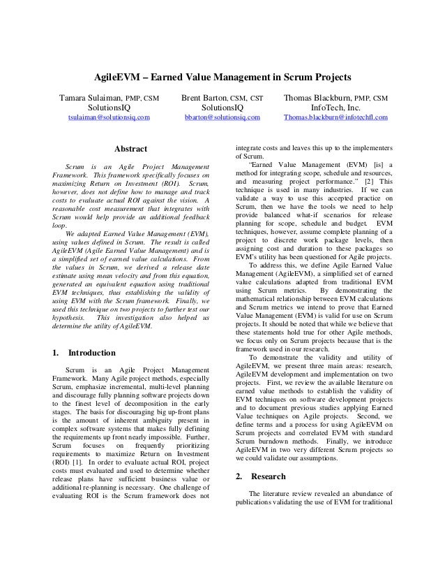 AgileEVM – Earned Value Management in Scrum Projects Tamara Sulaiman, PMP, CSM Brent Barton, CSM, CST Thomas Blackburn, PM...
