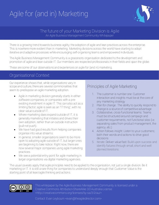 This whitepaper by the Agile Business Management Community is licensed under a Creative Commons Attribution-ShareAlike 3.0...