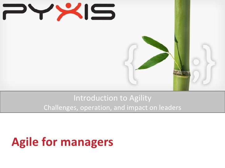 Agile for managers Introduction to Agility Challenges, operation, and impact on leaders