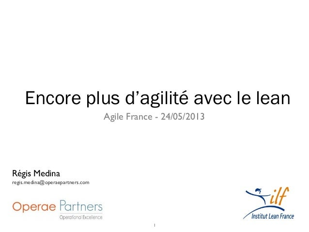 1Agile France - 24/05/2013Encore plus d'agilité avec le leanRégis Medinaregis.medina@operaepartners.com
