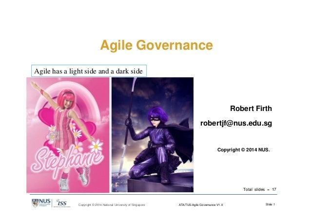 Slide 1Copyright © 2014 National University of Singapore ATA/TUS-Agile Governance V1.0 Agile Governance Robert Firth rober...