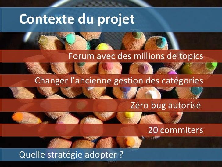Contexte du projet Quelle stratégie adopter ? Forum avec des millions de topics Zéro bug autorisé  Changer l'ancienne gest...